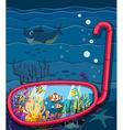 Ocean scene with sea animals vector image vector image