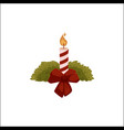 burning christmas candle with red ribbon bow vector image