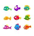 Colorful Cartoon Tropical Fish Set vector image