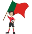 Happy soccer fan holds Portugal flag vector image