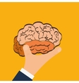 Human organ Brain and hand icon graphic vector image