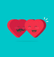two happy hearts hugging flat vector image