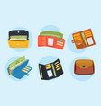 purse wallet with money ico for shopping vector image