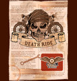 skull on vintage motorcycle background vector image