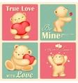 Teddy Bear in Retro Love Background vector image vector image