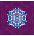 Blue mandala Oriental design over violet vector image