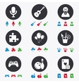 Game bowling and puzzle icons Entertainment vector image