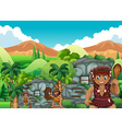Cave people living together in the stonehouse vector image