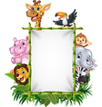 African animal with blank sign with nature concept vector image