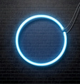 neon blue circle isolated on black brick wall vector image