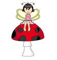 Fairy sitting on a mushroom vector image vector image