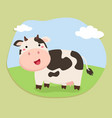 cute cow standing on field vector image