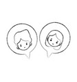 figure boy and girl head inside chat bubble vector image