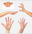 realistic 3d silhouette of hand on whit vector image
