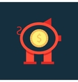 red piggy bank with coin inside vector image