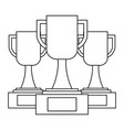 set of trophy cup award best competition vector image
