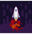 Space rocket flying up line icon on dark vector image