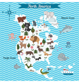 Map of North America continent with animals vector image