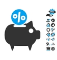 Piggy Bank Flat Icon With Tools Bonus vector image