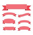 Pink ribbon banners set flat vector image