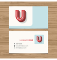 business card letter U vector image