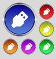 USB icon sign Round symbol on bright colourful vector image vector image