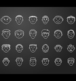 icon set 24 face man white vector image vector image