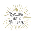 because i am a princess hand drawn lettering vector image