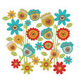 color background with set of retro flowers tulip vector image