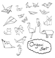 doodles set of origami vector image