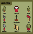garden color isometric icons vector image