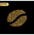 Gold glitter icon of the seed of coffee vector image
