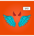 hand drawn pop art of devil wings and devil horns vector image