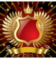 red banner with gold wings vector image