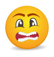 scared 3d round yellow smiley face icon vector image