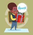 small school boy thanking hold present box vector image