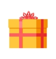 Yellow Gift Box with Orange Ribbon Bow Isolated vector image