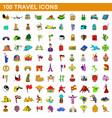 100 travel icons set cartoon style vector image
