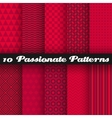 10 Passionate seamless patterns tiling Hot red vector image