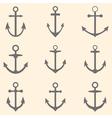 Set of anchors Anchor symbols or logo template vector image