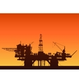 Sea oil rig at sunset Oil platform in the sea vector image