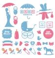 Baby shower design elements set Pregnancy vector image