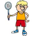 boy with tennis racket cartoon vector image