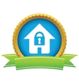 Gold lock house logo vector image
