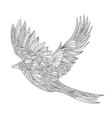 monochrome hand drawn zentagle of magpie Coloring vector image
