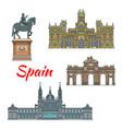 spanish travel landmark of madrid linear icon set vector image