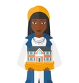 Woman holding house model vector image