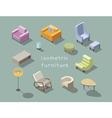 isometric set of modern living room furniture home vector image