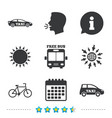 public transport icons free bus bicycle signs vector image
