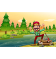 A happy lumberjack at the riverbank vector image